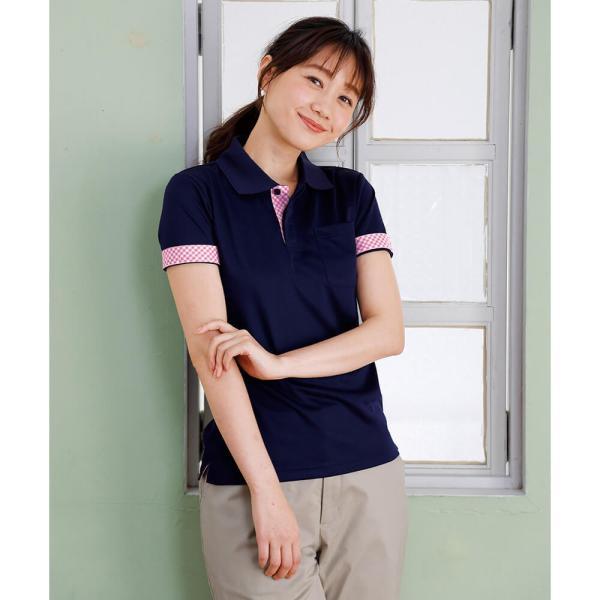 介護士 女性 レディースデザインポロシャツ 病院 クリニック ヘルパー ケアウェア|nursery-y|03