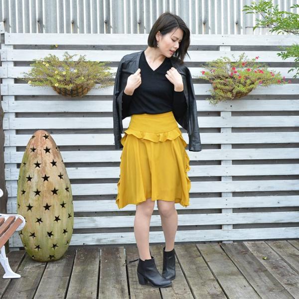 フリルスカート きれいめカジュアル フェミニン 人気 フレアスカート ねいびー ますたーど シルエット美 膝丈 フリル アシンメスカート 着やせ 園ママ シンプル|nuu|16
