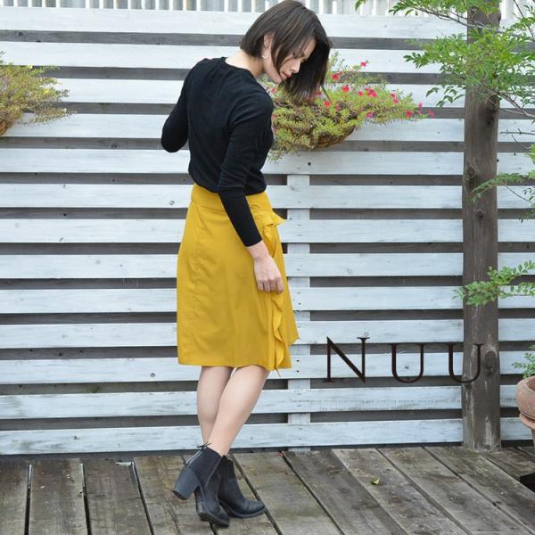フリルスカート きれいめカジュアル フェミニン 人気 フレアスカート ねいびー ますたーど シルエット美 膝丈 フリル アシンメスカート 着やせ 園ママ シンプル|nuu|19