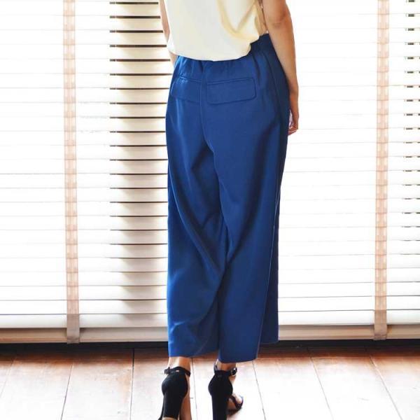 タックワイドパンツ ブルー 華やか さわやか ベーシック 20代 30代 光沢 きっちり リラックス 上質 ワイド 園ママ おしゃれ|nuu|11
