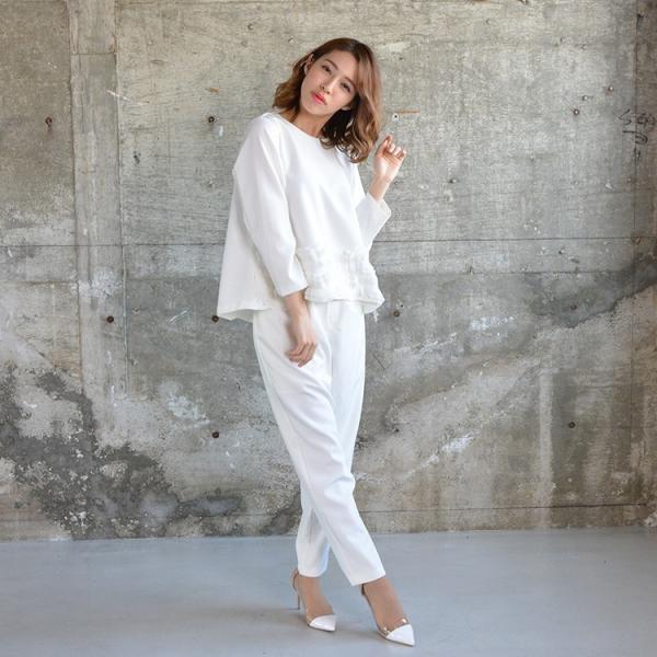 裾ラウンドプリーツトップス プリーツ きれいめ ホワイト レディース 2018 春 夏 20代 30代 40代|nuu|07