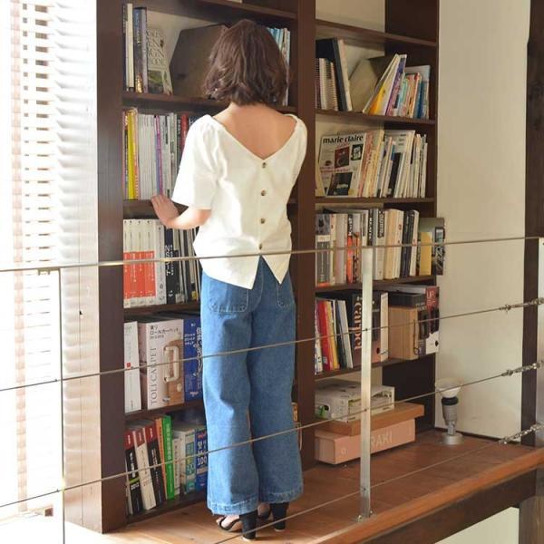 バックボタンコットンブラウス シャツ ブラウス プルオーバー ホワイト  レディース 背中 半袖 5分袖 綿 コットン 無地 ボタン nuu 11