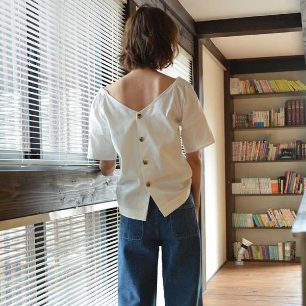 バックボタンコットンブラウス シャツ ブラウス プルオーバー ホワイト  レディース 背中 半袖 5分袖 綿 コットン 無地 ボタン nuu 14