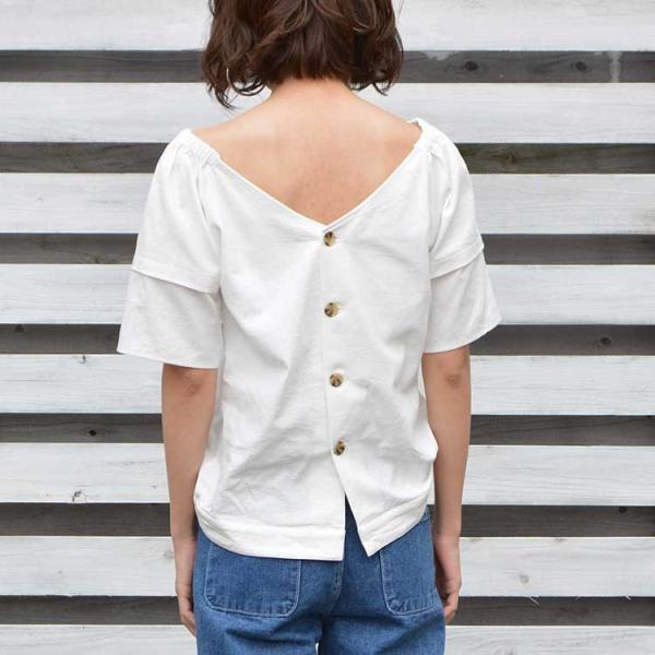 バックボタンコットンブラウス シャツ ブラウス プルオーバー ホワイト  レディース 背中 半袖 5分袖 綿 コットン 無地 ボタン|nuu|07