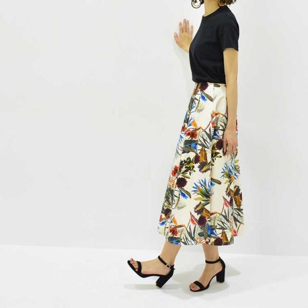 日本製ボタニカルプリントスカート 20代 30代 花柄 トレンド 上質コットン100% エレガント 女性らしい 大人シルエット |nuu|13