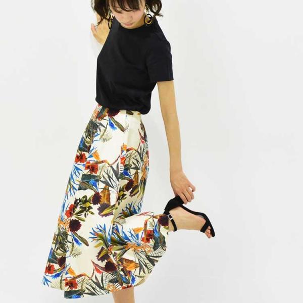 日本製ボタニカルプリントスカート 20代 30代 花柄 トレンド 上質コットン100% エレガント 女性らしい 大人シルエット |nuu|15
