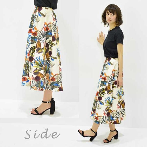日本製ボタニカルプリントスカート 20代 30代 花柄 トレンド 上質コットン100% エレガント 女性らしい 大人シルエット |nuu|06
