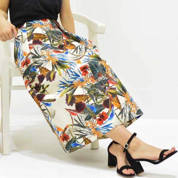 日本製ボタニカルプリントスカート 20代 30代 花柄 トレンド 上質コットン100% エレガント 女性らしい 大人シルエット |nuu|09
