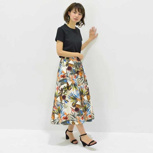 日本製ボタニカルプリントスカート 20代 30代 花柄 トレンド 上質コットン100% エレガント 女性らしい 大人シルエット |nuu|10