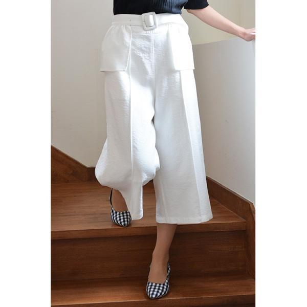 ベルト付きピンタック風ワイドパンツ ガウチョパンツ ホワイト ベルト シンプル かわいい 2WAY 取り外し可能|nuu|11