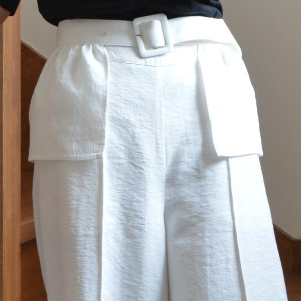 ベルト付きピンタック風ワイドパンツ ガウチョパンツ ホワイト ベルト シンプル かわいい 2WAY 取り外し可能|nuu|12