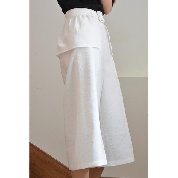 ベルト付きピンタック風ワイドパンツ ガウチョパンツ ホワイト ベルト シンプル かわいい 2WAY 取り外し可能|nuu|15