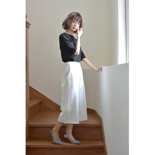 ベルト付きピンタック風ワイドパンツ ガウチョパンツ ホワイト ベルト シンプル かわいい 2WAY 取り外し可能|nuu|17