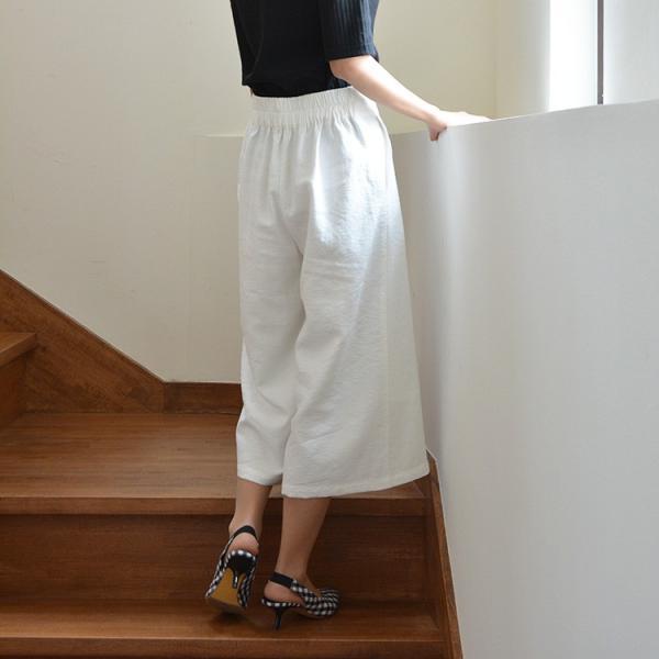 ベルト付きピンタック風ワイドパンツ ガウチョパンツ ホワイト ベルト シンプル かわいい 2WAY 取り外し可能|nuu|18