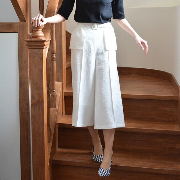 ベルト付きピンタック風ワイドパンツ ガウチョパンツ ホワイト ベルト シンプル かわいい 2WAY 取り外し可能|nuu|10