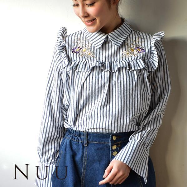 刺繍入りフリルストライプブラウス 20代 10代 ブラウス ガーリー 流行 かわいい 花柄 2018 春 夏|nuu|08