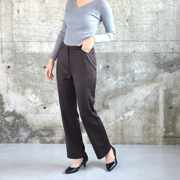 ソフトスリムパンツ ゆったり 大きなサイズ OL 脚長 通勤 ミセス シンプル オフィス 主婦 nuu 13