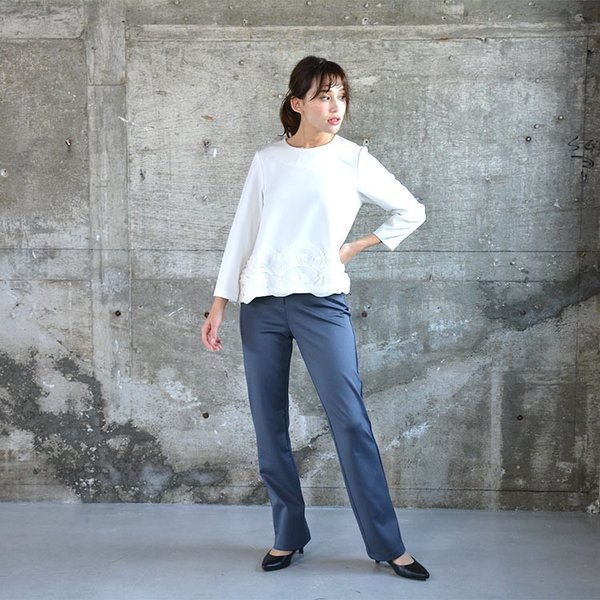 ソフトスリムパンツ ゆったり 大きなサイズ OL 脚長 通勤 ミセス シンプル オフィス 主婦 nuu 14