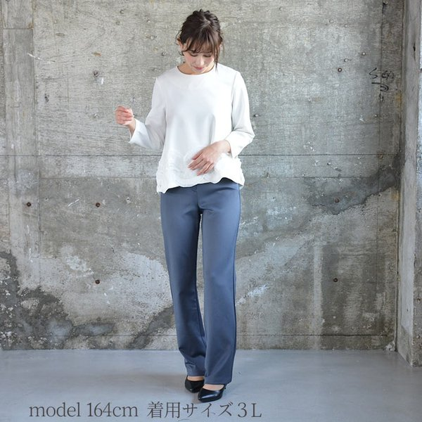 ソフトスリムパンツ ゆったり 大きなサイズ OL 脚長 通勤 ミセス シンプル オフィス 主婦 nuu 06
