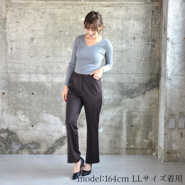 ソフトスリムパンツ ゆったり 大きなサイズ OL 脚長 通勤 ミセス シンプル オフィス 主婦 nuu 07