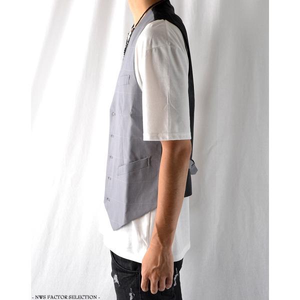 ジレ ベスト メンズ サロン系 モード系 スーツ チェック柄 夏 ショート丈 きれいめ コンパクト スリム 細身|nws-factor|03