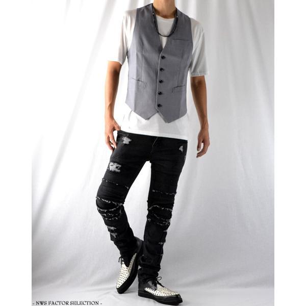 ジレ ベスト メンズ サロン系 モード系 スーツ チェック柄 夏 ショート丈 きれいめ コンパクト スリム 細身|nws-factor|05