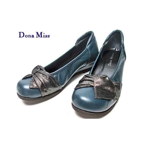 ドナミス Dona Miss リボンデザインローヒールパンプス ネイビー レディース 靴