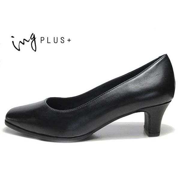 イングプラス ing PLUS 4051 ワイズ2E プレーントゥパンプス ブラック レディース 靴