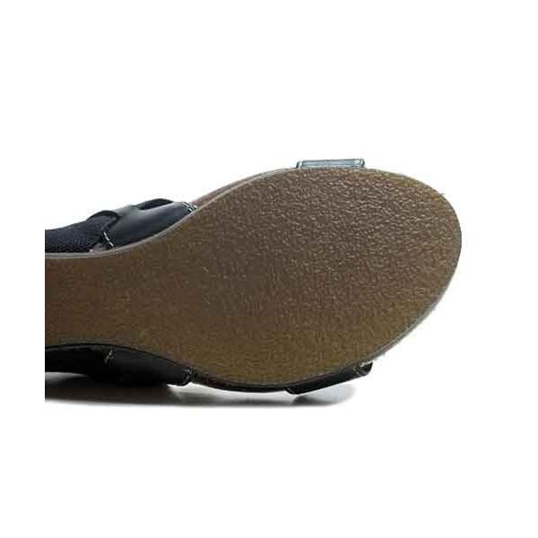 キスコ KISCO  ゴムバンドウエッジサンダル ブラック レディース・靴