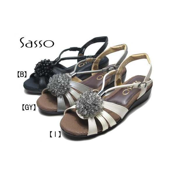 サッソ Sasso フラワーモチーフバックバンドサンダル レディース 靴
