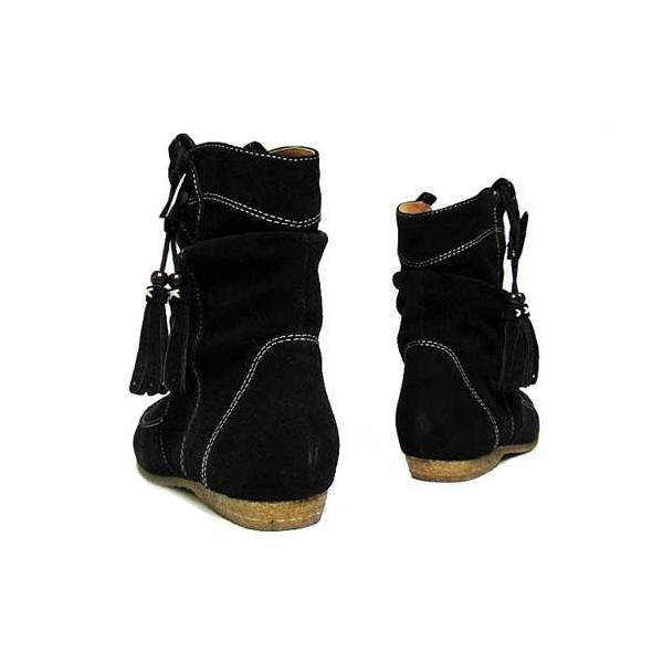 ヴェールダンス Vert Dense タッセル 付き ショート ブーツ レディース ブラックスエード【靴】