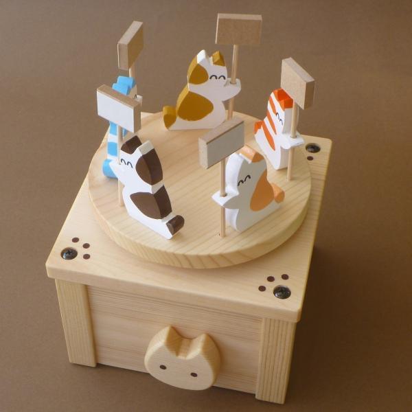 ネコがメッセージを伝える木製回転オルゴール(ボックスタイプ)|nyanmaru-kobo|02