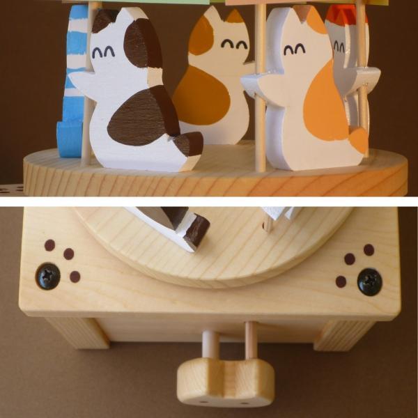 ネコがメッセージを伝える木製回転オルゴール(ボックスタイプ)|nyanmaru-kobo|04