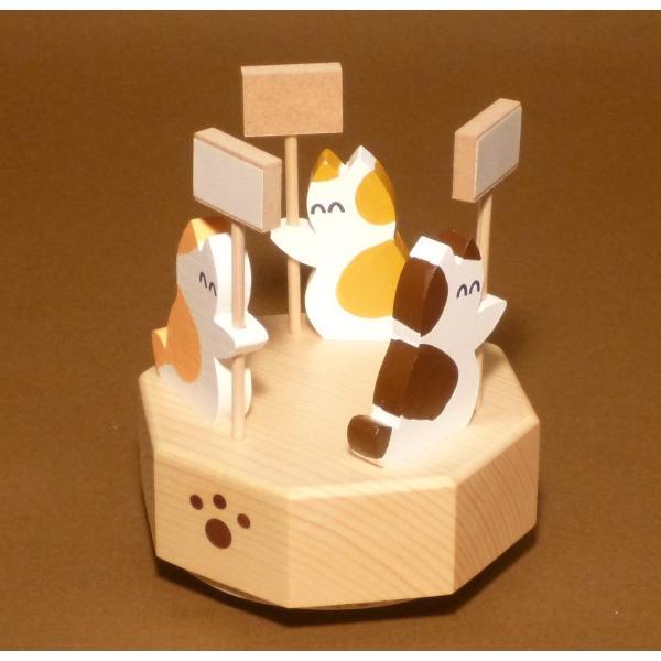 ネコがメッセージを伝える木製回転オルゴール|nyanmaru-kobo|02