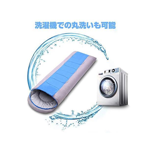 Shamo Camel 寝袋 シュラフ スリーピングバッグ 封筒型 コンパクト 軽量 丸洗い 最低使用温度-5度 収納袋 3カラー -028 (青)|o-p-s|03