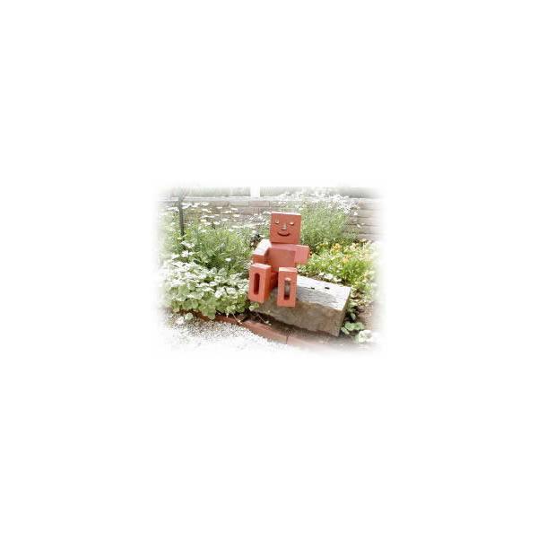 レンガ 庭 デザイン いつも笑顔の「れんがマン」別売りボンドが必要です。(レンガのマスコット)|o-tamatebako|03