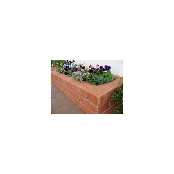 レンガ ガーデニング アンティーク調レッド らくらくれんが花壇セット100型 +穴あき半マス2個付き o-tamatebako 02