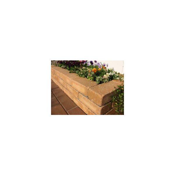 レンガ ガーデニング アンティーク調ベージュ らくらくれんが花壇セット100型 +穴あき半マス2個付き|o-tamatebako|02