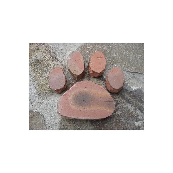 手づくりレンガ 足あと完成品 サイズ約21cm×20cm×3cm ブラウン レッド ベージュ|o-tamatebako|03