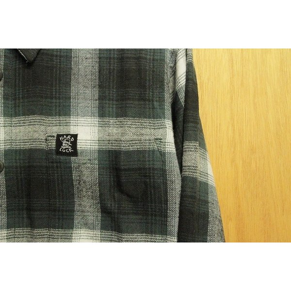 HARD LUCK (ハードラック,フランネルシャツ) OG LOGO FLANNEL charcoal|oddball-skate-snow|02