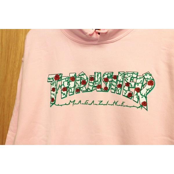 THRASHER (スラッシャー,バラ,ローズ,,パーカー) ROSES PULLOVER HOOD light pink|oddball-skate-snow|02