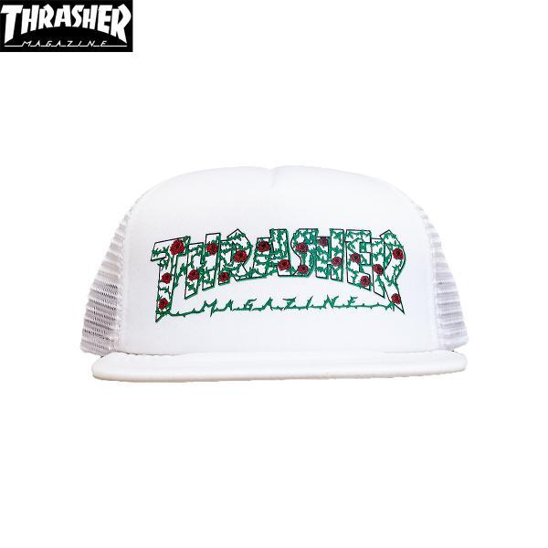 THRASHER (スラッシャー,バラ,ローズ,キャップ) ROSES MESH HAT white|oddball-skate-snow