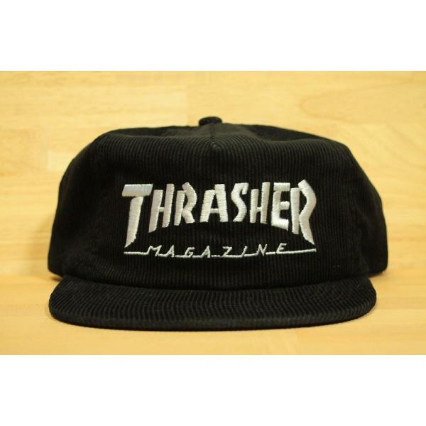THRASHER (スラッシャー,コーデュロイ,キャップ) MAGAZINE LOGO CORDUROY SNAPBACK black|oddball-skate-snow