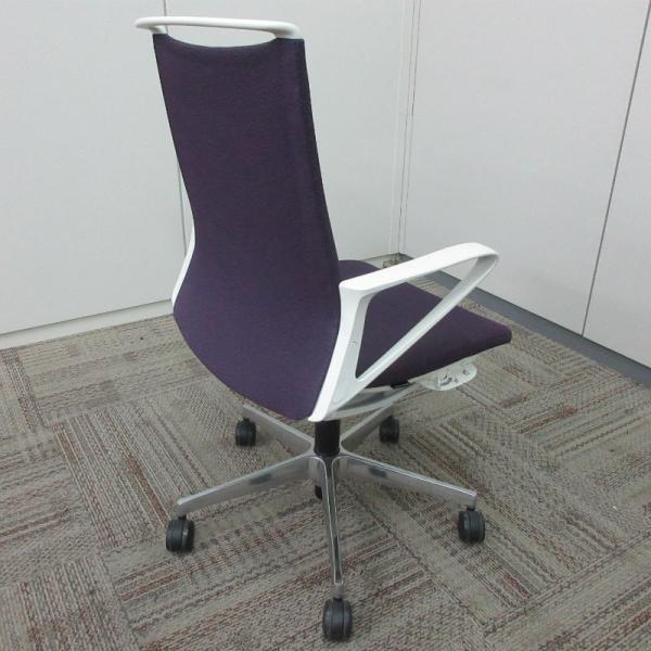 オカムラ モードチェア ミドルバック 5本脚タイプ 樹脂フレーム ホワイトボディ デザインアーム(樹脂) 背・座ミックス パープル|office-kagu-tops|05