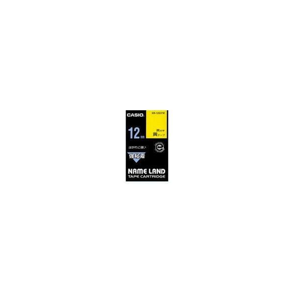 強粘着テープ XR-12GYW 黄に黒文字 12mm カシオ計算機