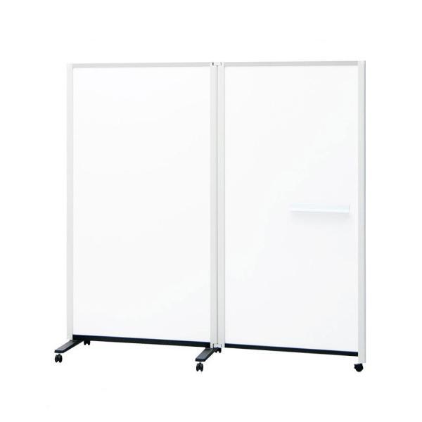 プラス パーテーションホワイトボード 両面 2連 パーティション オフィス 間仕切り 白版 キャスター付き 連結タイプ 幅1844×奥行589×高さ1800mm PWJ-1818DSK