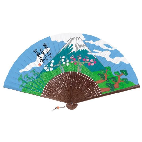 岡本肇 新水墨扇子シリーズ NO.640 富士山 7.5寸(22cm)35間 ヒモ・木玉付 新日本カレンダー