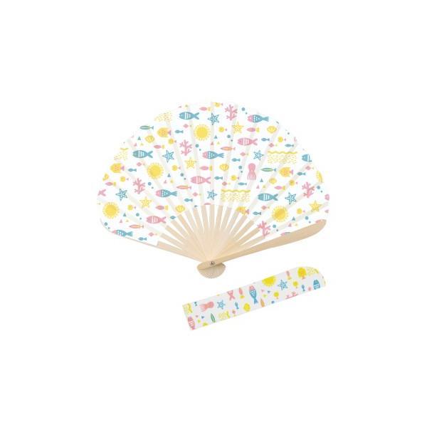 サマーバカンス シリーズ NO.697 サカナ 7寸(21cm)17間・扇子袋付き 新日本カレンダー