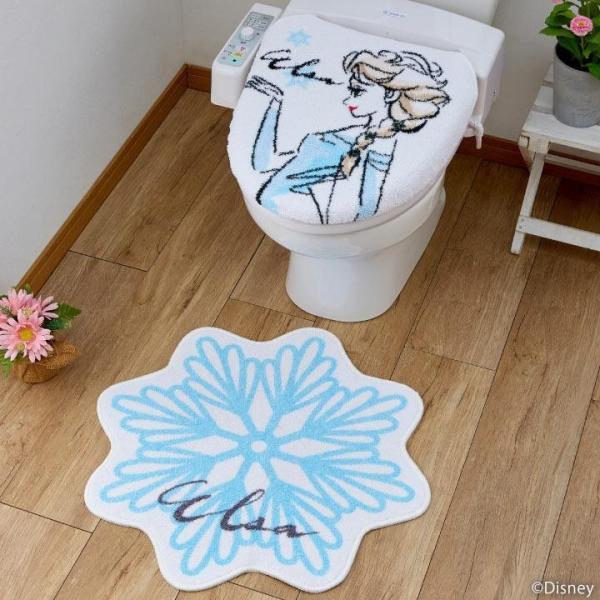 (同梱不可)トイレ2点セット(洗浄・暖房便座用フタカバー&トイレマット) ディズニー アナと雪の女王 エルサ SB-487-D おしゃれ かわいい キャラクター