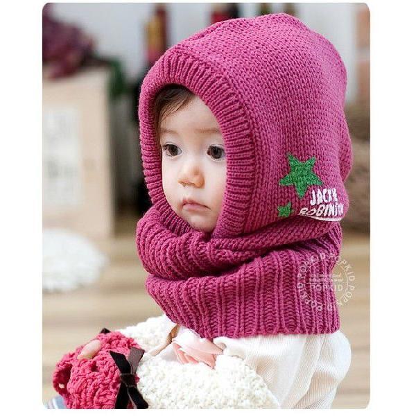 d382a78803559 ... 送料無料 帽子&マフラー一体型 キッズ 子供 ベビー 赤ちゃん ニット帽 冬 ...